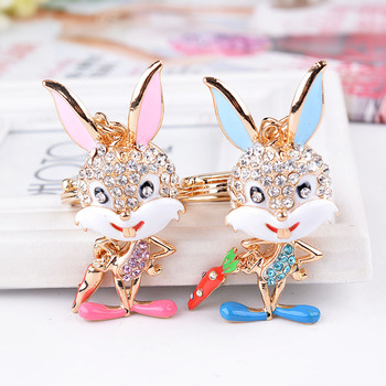 Cheap pink blue Cartoon Rabbit Keychain for Multiple Keys
