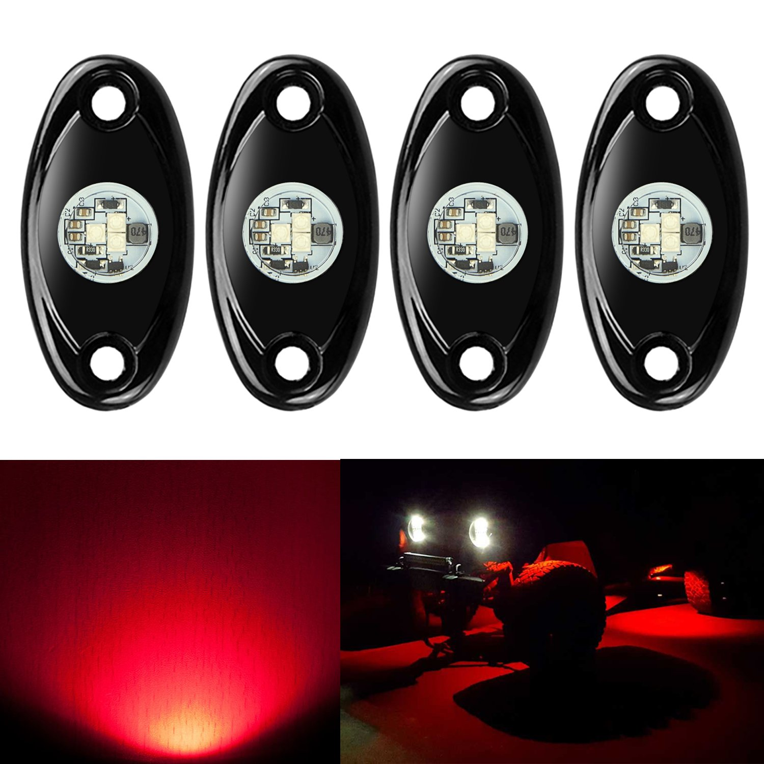 Amber Catinbow LED Rock Light Kits with 4 Pods Light for Car Truck JEEP ATV SUV UTV Offroad Motorcycle Underbody Glow Trail Rig Lights