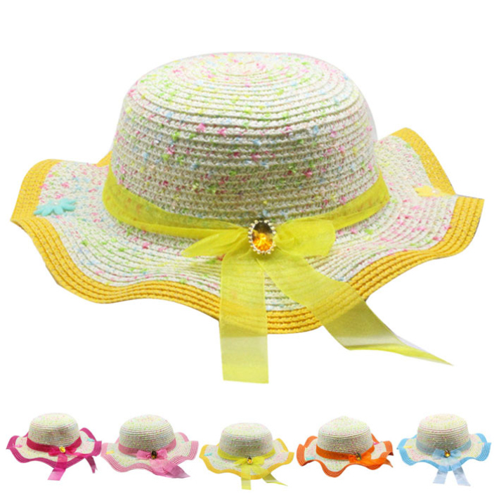 Hot Girls Child Sunscreen Hat Summer Holiday Gemstone Bow Shading Straw Hat 54df14272728