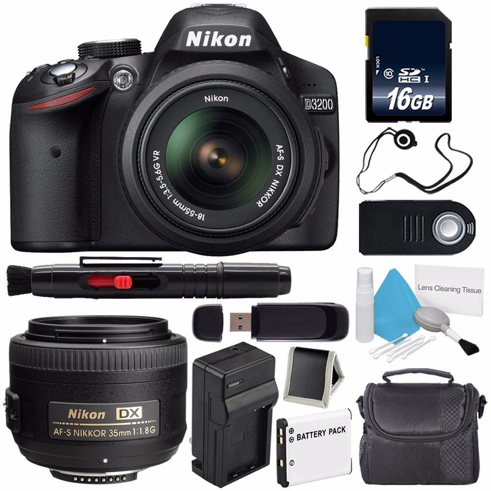 Nikon D3200 Digital Camera w/ 18-55 VR II Lens (International Model No Warranty) + Nikon AF-S DX NIKKOR 35mm f/1.8G Lens + 16GB SDHC Class 10 Memory Card + SD Card USB Reader Bundle 67