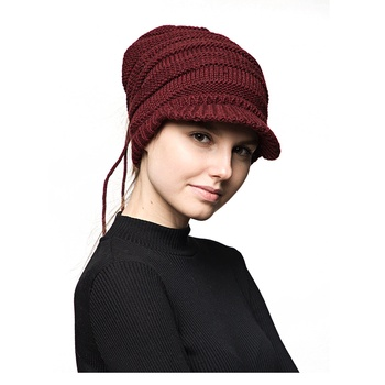 Custom Free Knitted Hat Patterns With Label Visor Beanie For Women