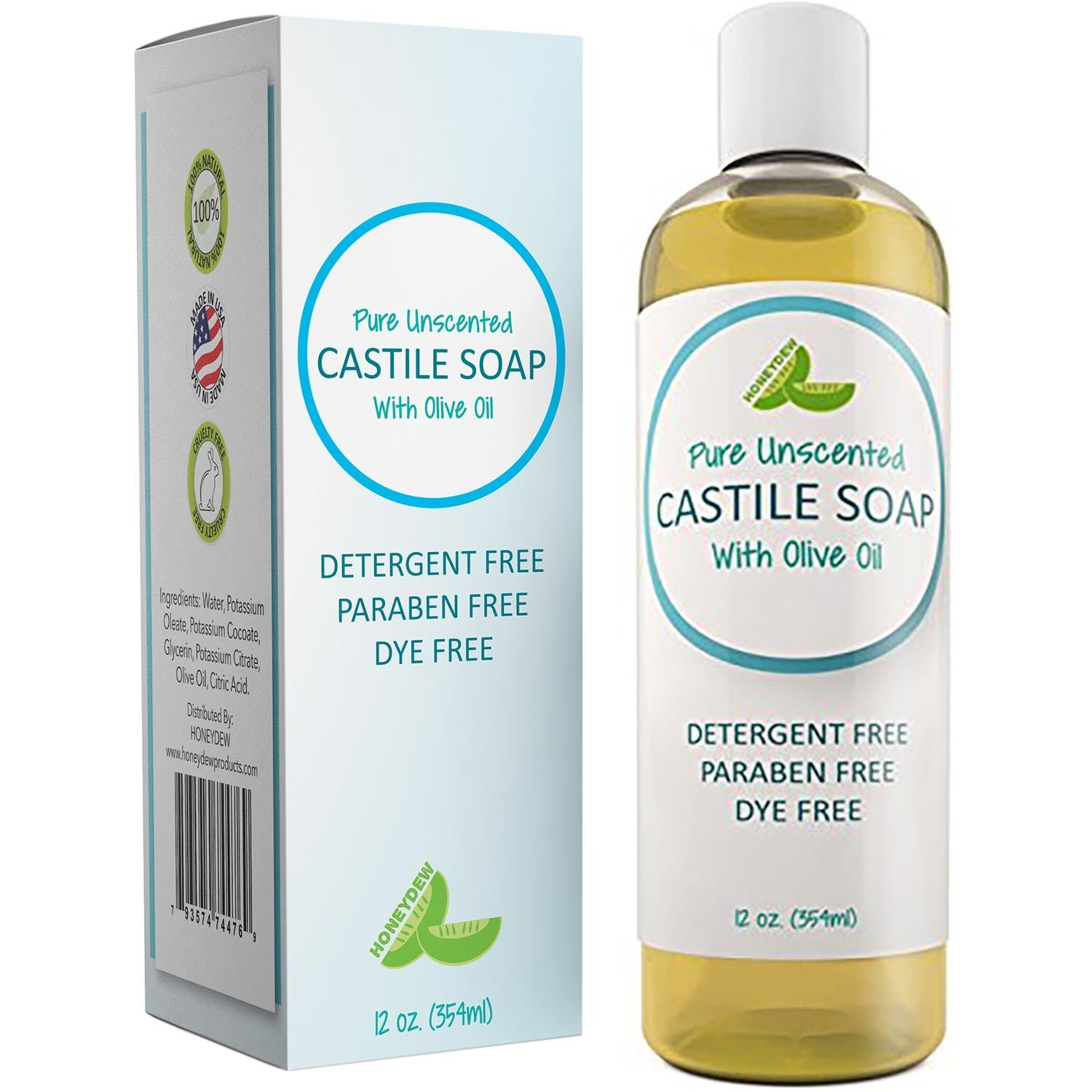 100% Pure Castile Soap Unscented Liquid Soap For Body Or Home Use With Olive Oil And Glycerin – Nourishing Natural Skin Care – All Purpose Cleaner - Chemical Free & SLS Free Soap - Vegan Friendly
