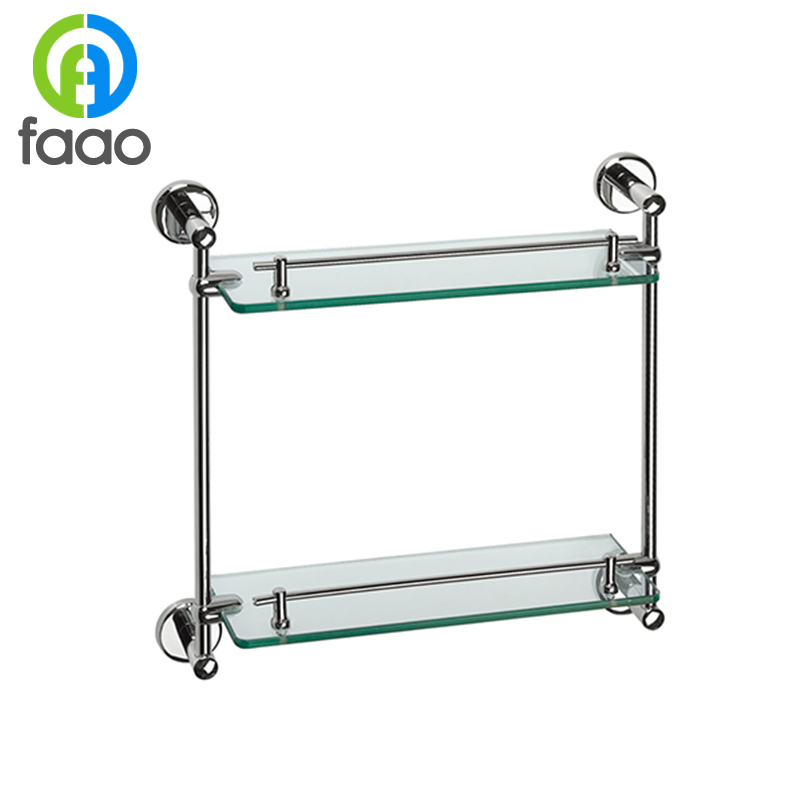 FAAO Wall Mounted Suction Cup Bathroom Brass Glass Shelf With Towel Bar. U003e