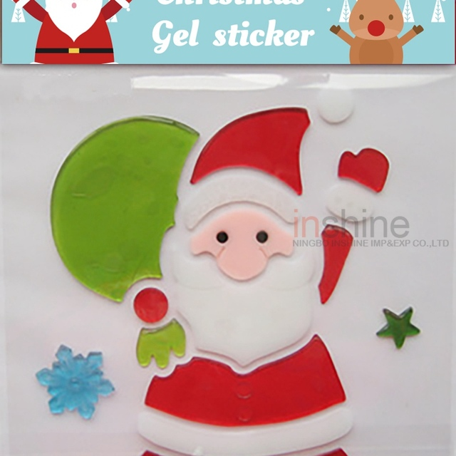 Cu4111 santa claus gel sticker jelly window sticker christmas sticker