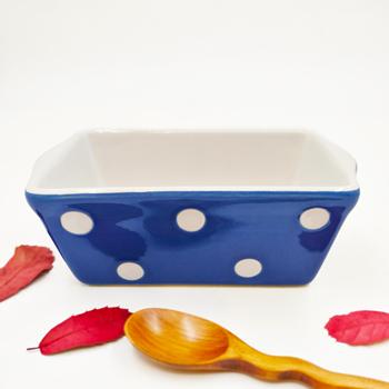 Polka Dots Printed Glazed Mini Loaf Pan Ceramic