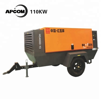 8bar 700CFM mobile 150hp portable screw 110kw electric air compressor mining HGD110-8D