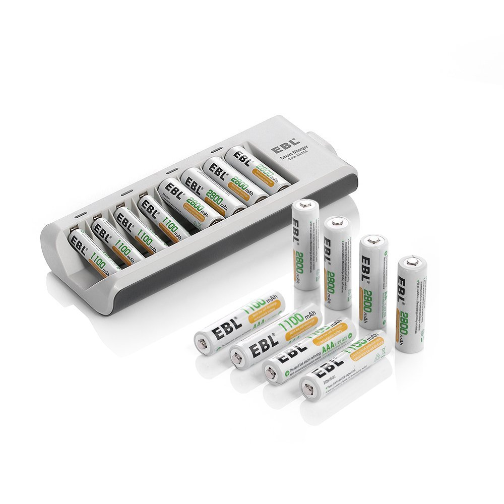 EBL® 8 Pack 2800mAh High Capacity AA Rechargeable Batteries + 8 Pack 1100mAh AAA Rechargeable Batteries + 8 Bay AA/AAA Ni-MH/Ni-Cd Battery Charger