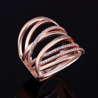2017 New Rose Gold Plated 925 Sterling Silver Puzzle Ring Designs for Women