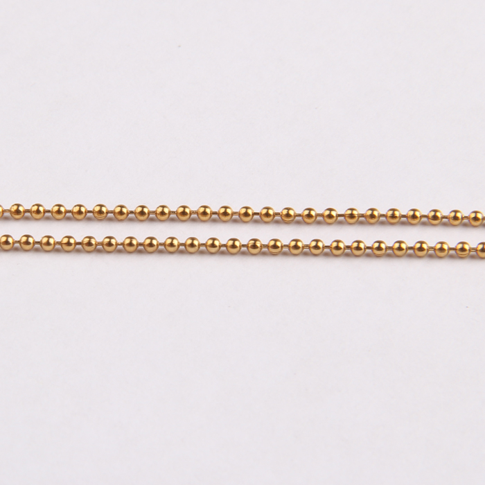 Zhongzhe Jewelry 1.5MM Stainless Steel Bead Chain Mens Womens 18K Gold Plated Necklace Ball Chain, OEM/ODM Accept