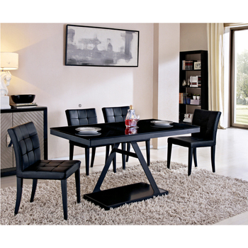 4 Seater Black Tempered Gl Dining Table