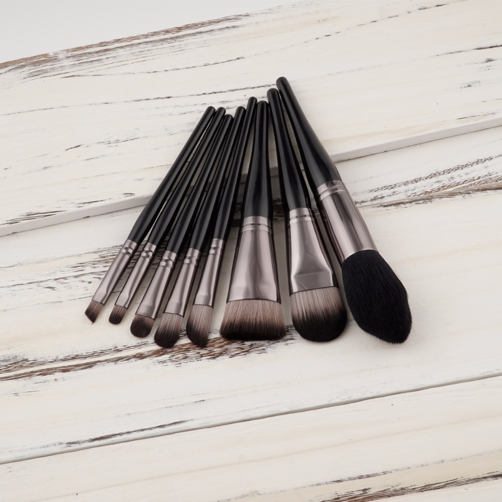 8pcs/set Black Gun Coffee Color Make Up brush Blushesr Powder Foundation Lip Makeup Brush set