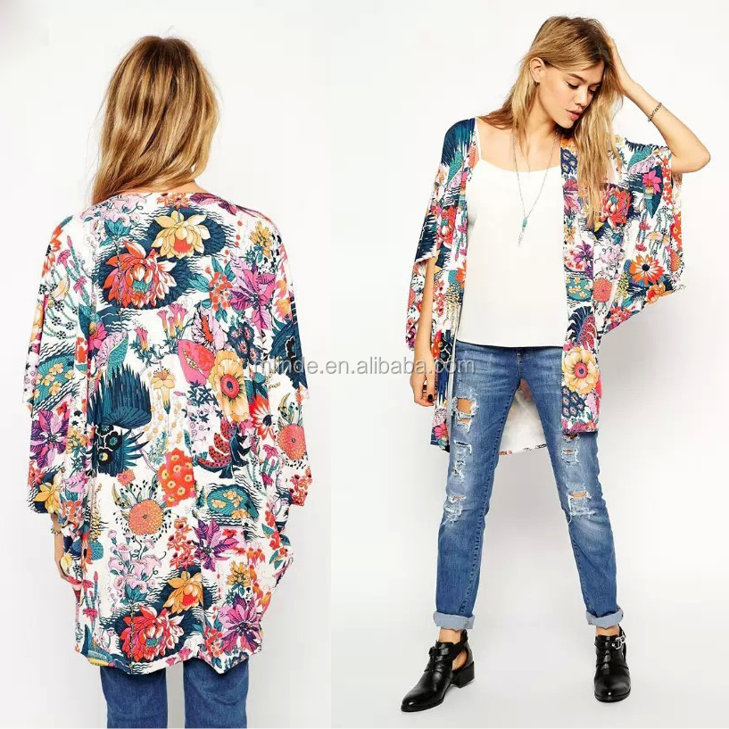 Wholesale Latest Fashion Women Floral Kimono Cardigan Chiffon Blouse Loose Quimono Flower Print Casual Cardigans