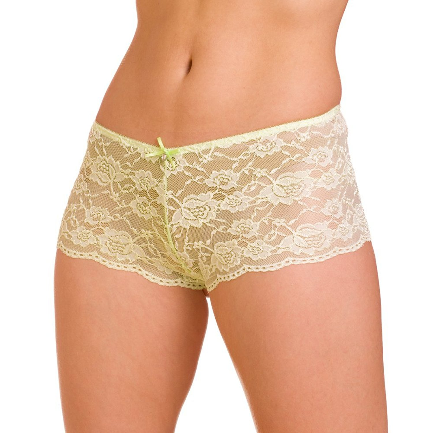 Camille Womens Ladies Underwear Lime Green Lace Bow French Thong Briefs  Knickers 4-18 7904158c3