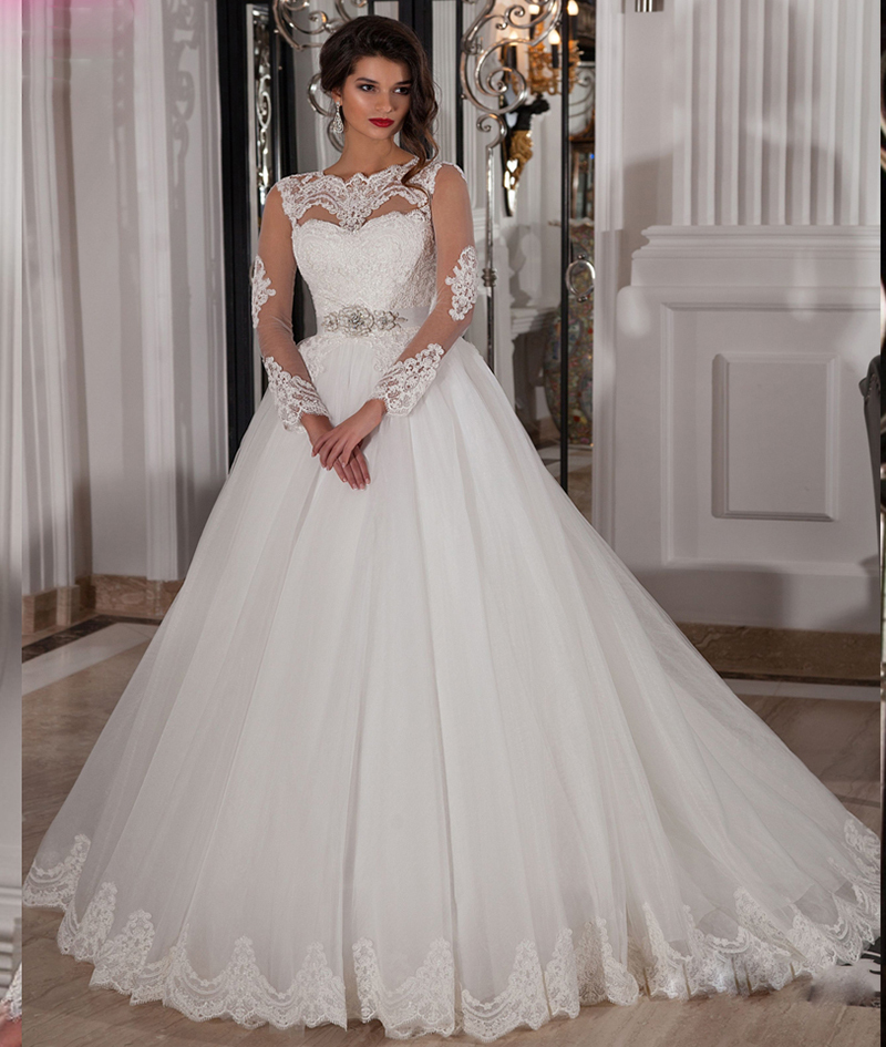 Princess Wedding Gowns With Sleeves: Sexy See Through Long Sleeve Lace Wedding Dresses Spanish