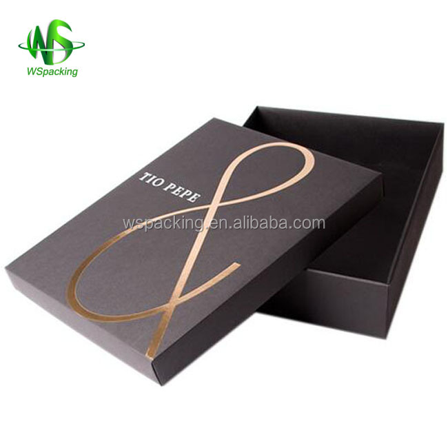 Custom clothing box with logo, two piece rigid box for T shirt packaging