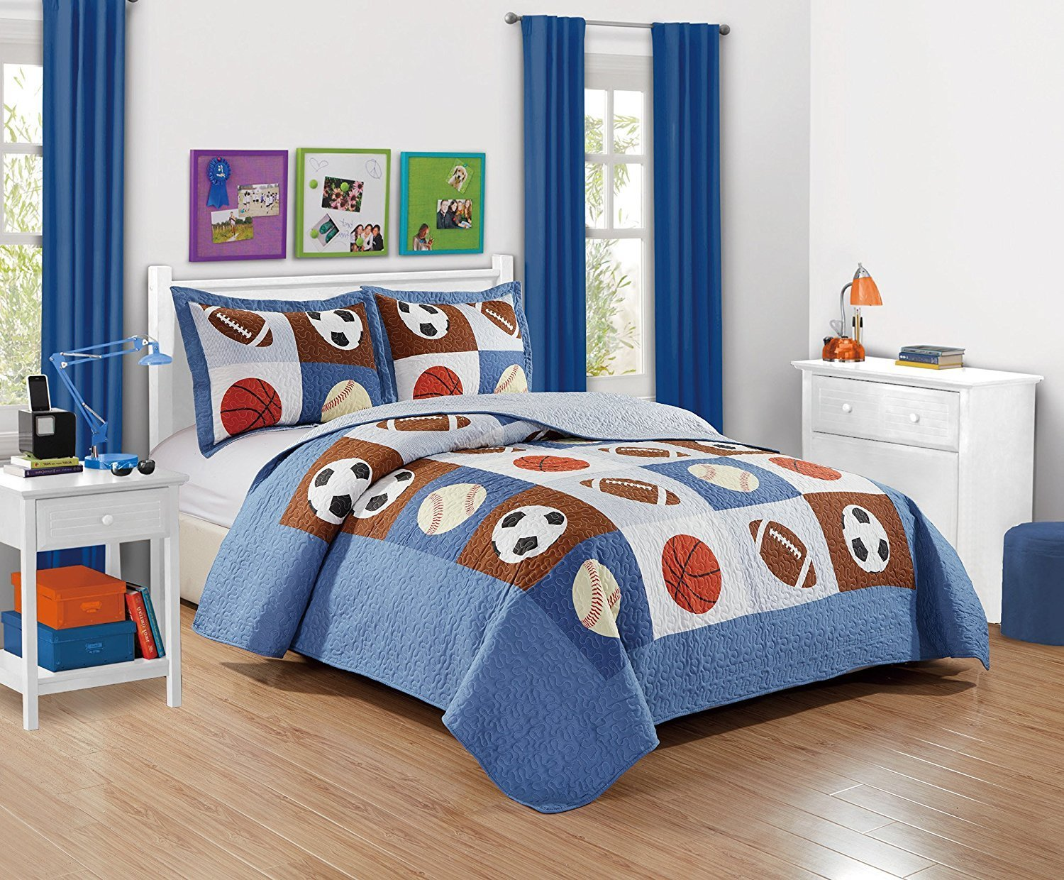 Fancy Collection 2pc Twin Size Quilted Bedspread Set Sports Baseball Football Basketball Soccer Blue White Black Red Orange Off White New