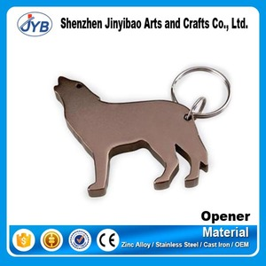 Wholesale cheap custom aluminum metal wolf dog shape bottle opener keychain for promotion