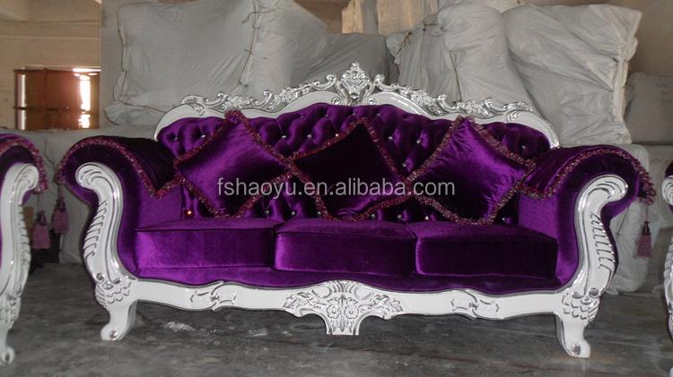 White Wooden Wedding Chair Purple Fabric Sofa Set Dwl929