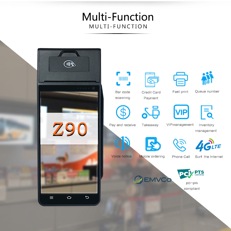 POS 5 inch Smart Touch Screen POS Terminal Z90 with NFC/EMV/VISA/MASTERCARD Certificated pos nfc Card Reader