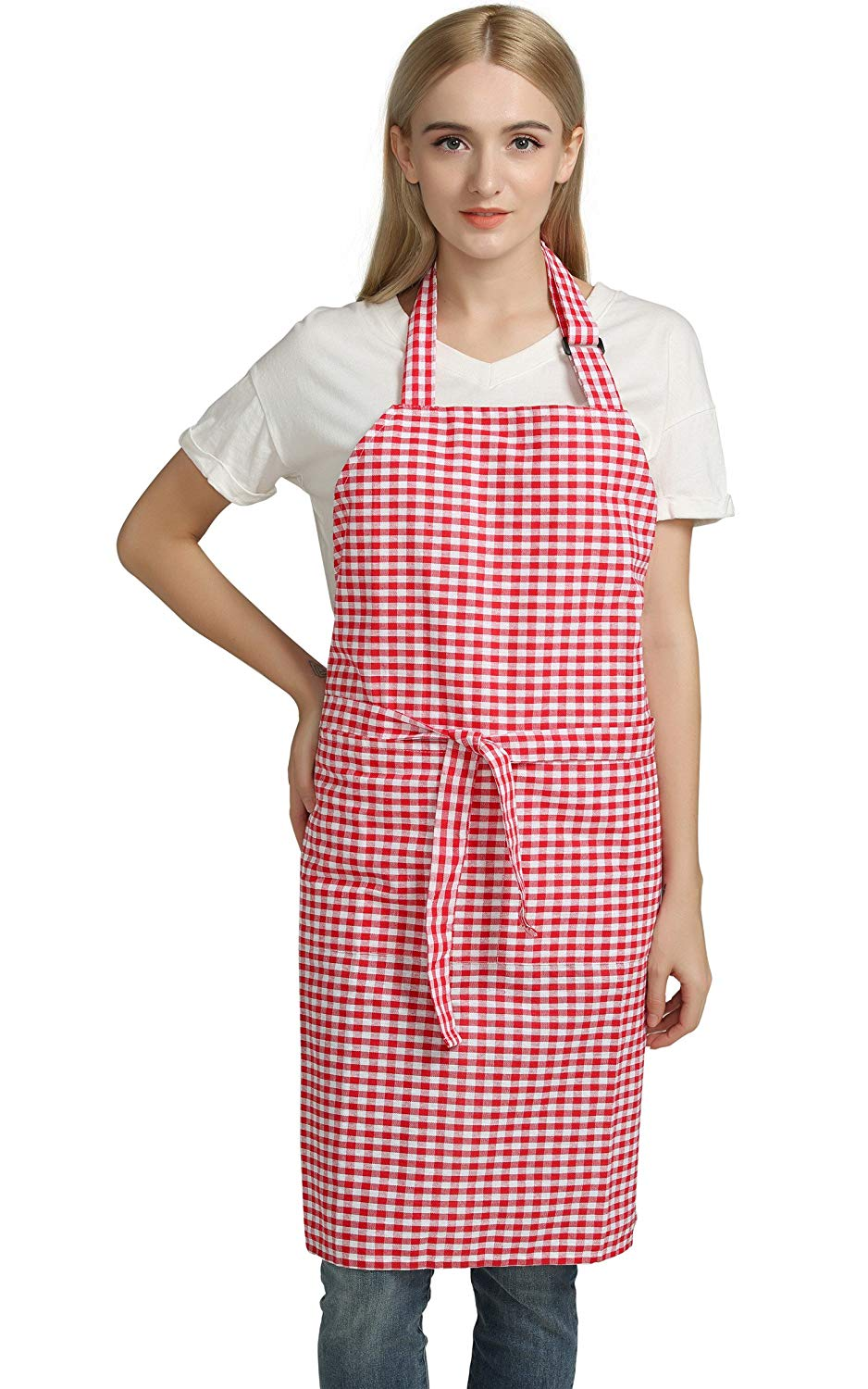 Vintage Gingham Kitchen Aprons Chef Bib Canvas Aprons Christmas Holiday Home Decorative 100% Pure Cotton Aprons in Large Size with Pockets with Pockets by Jennice House(Red)