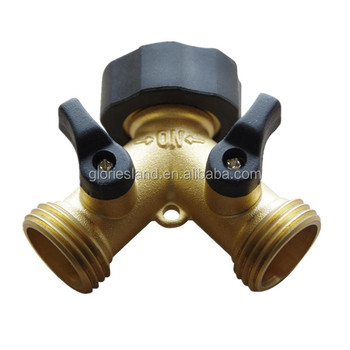 Top quality 3/4u0026quot; brass water fittings 2 way hose splitter Y shaped hose  sc 1 st  Alibaba & Top Quality 3/4