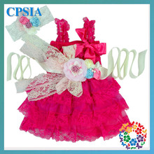 Fashion baby princess dress new bron baby lace dress with flower headband & belt