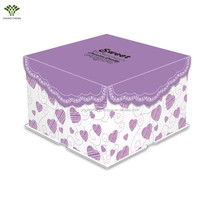 Purple custome made cake box new design lace cake pop boxes paper decorative cake boxes