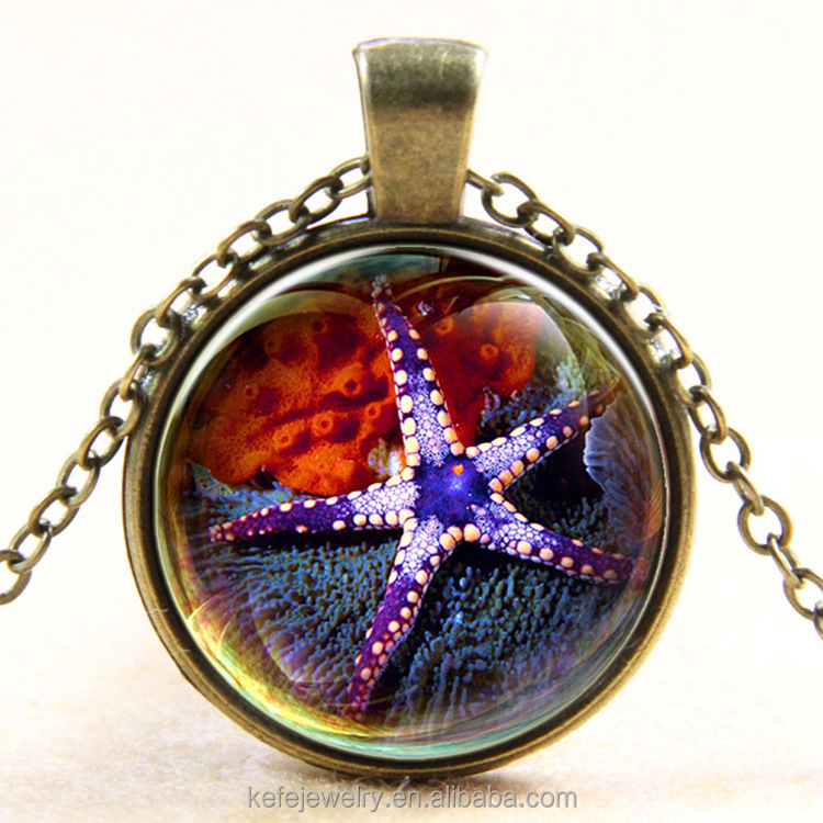 Time Gem Silver Gold Plated Alloy Glass Sea World Long Chain Starfish Necklace