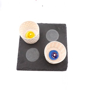 promotion unique square slate candle coaster /coffe cup pad/beverage mat