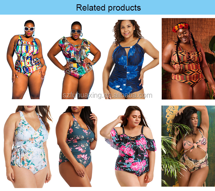 One Piece Swimsuit 2019 Printed Custom Print Plus Size Swimwear Bikini For Fat Woman