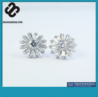 Wholesale Unique Design 925 Sterling Silver Jewelry,White Zircons Crystal Women Silver Color Druzy Stud Earrings