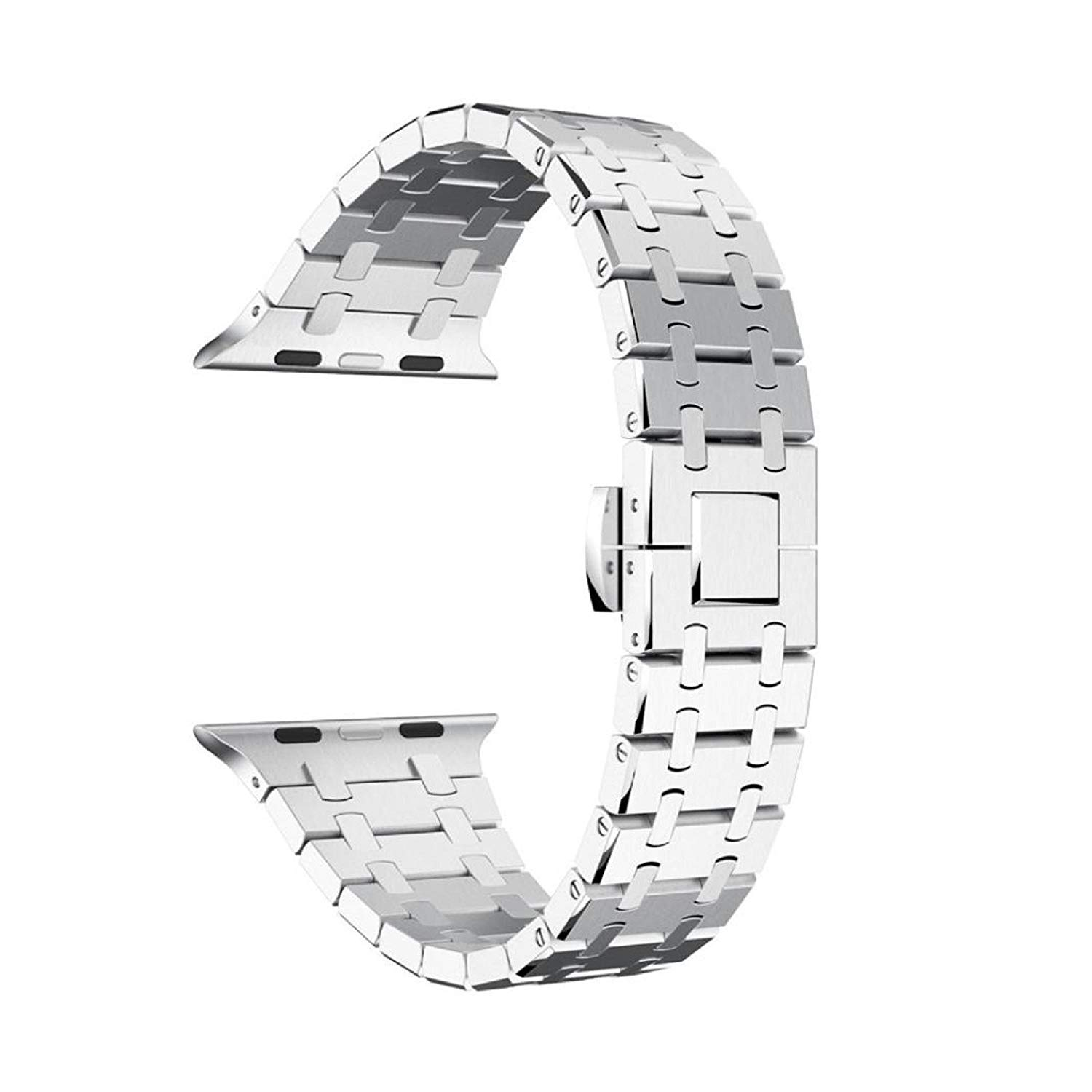 Owill Luxury Genuine Stainless Steel Watch Bracelet Band Strap For Apple Watch Series 1/2 42MM Watch, Fits Wrist 135-195mm (Silver)