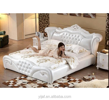 European antique design bedroom furniture king size leather luxury soft bed