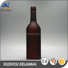 China manufacture 500ml matt frosted amber round ice wine glass liquor bottle