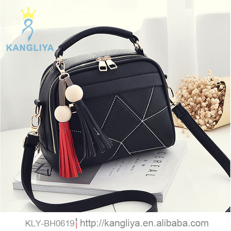 Fringe handbag with short hard handle and long pu shoulder strap bags for young ladies