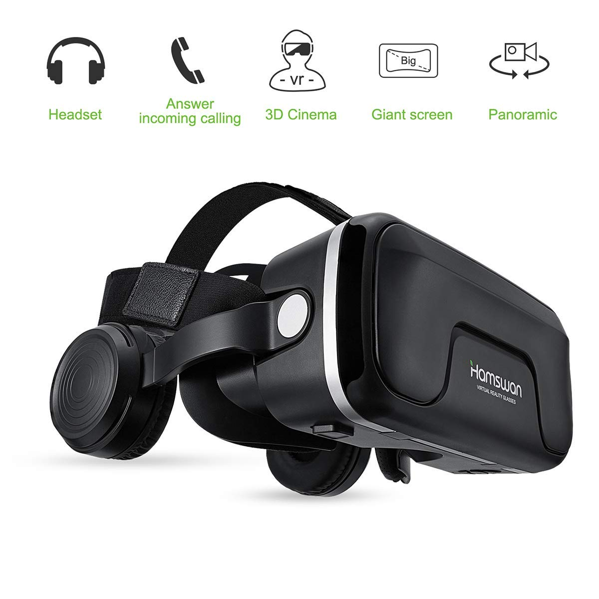 HAMSWAN VR Goggles, 3D VR Glasses VR Headset Virtual Reality Goggles Headset Glasses with Built-in Headset, Unique Design and Multifunction Button Compatible with Smartphones Within 4.0-6.0 inch