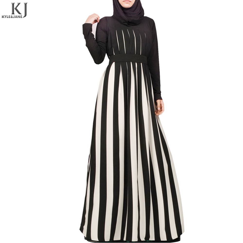 Hot selling muslimah maxi dress black and white strip long dubai abaya coat new design