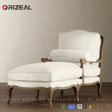 Hot sale comfortable White fabric upholstered french antique wood daybed for livingroom rest