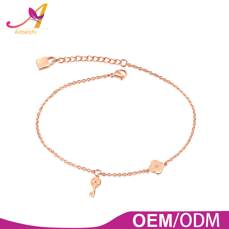 New Design Rose Gold Plated Stainless Steel Chain Charm Design Women Hotwife Anklet