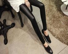 Black women leggings faux leather high quality slim leggings plus size High elasticity sexy pants leggins free size