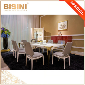Bisini Home Furniture Italian Style Warm Atmosphere Dining Room Table Set, Luxury 8 People Dining Table and Chair Set