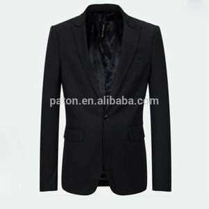 Black strip single button slim suit For Men custom