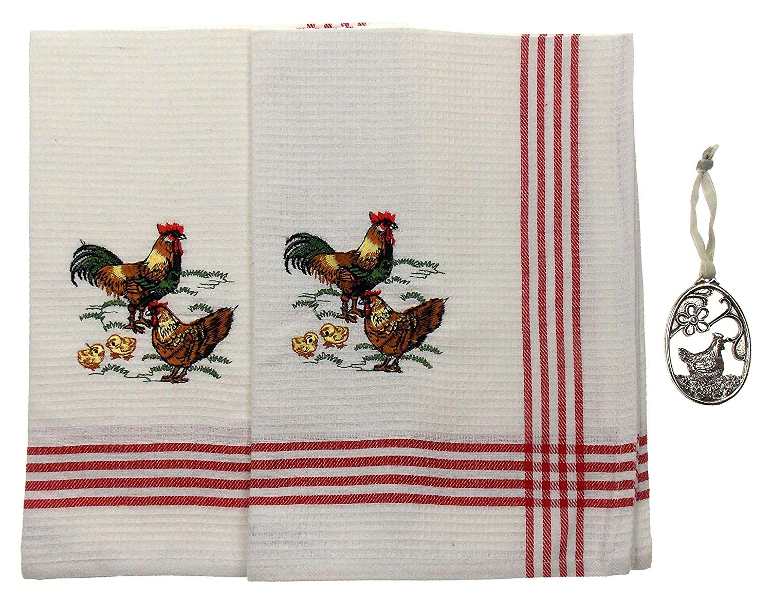 Hickoryville Rooster, Hen & Chicks Kitchen Dish Towels Bundled with Polystone Hen Ornament