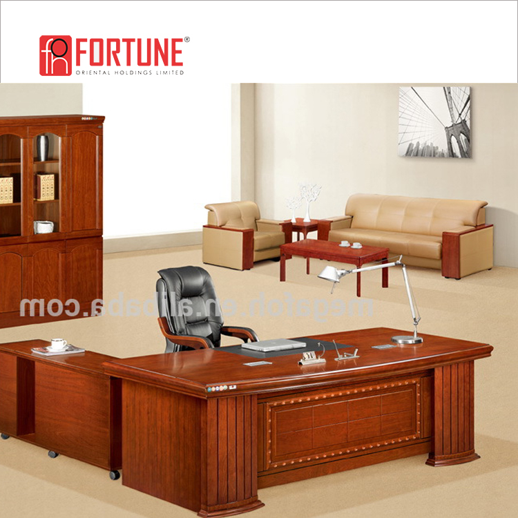 Contemporary curved solid teak wood veneer executive desk (FOHK-2469#)