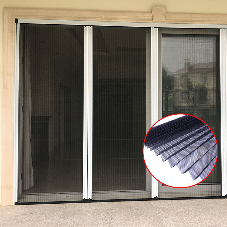 Invisible Plisse Insect Door Sliding Pleated Retractable Fly Screen