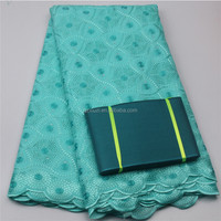 Textile Fabric African Lace Fabrics Big Swiss Voile Lace With Headtie Scarf Polished Cotton Fabric