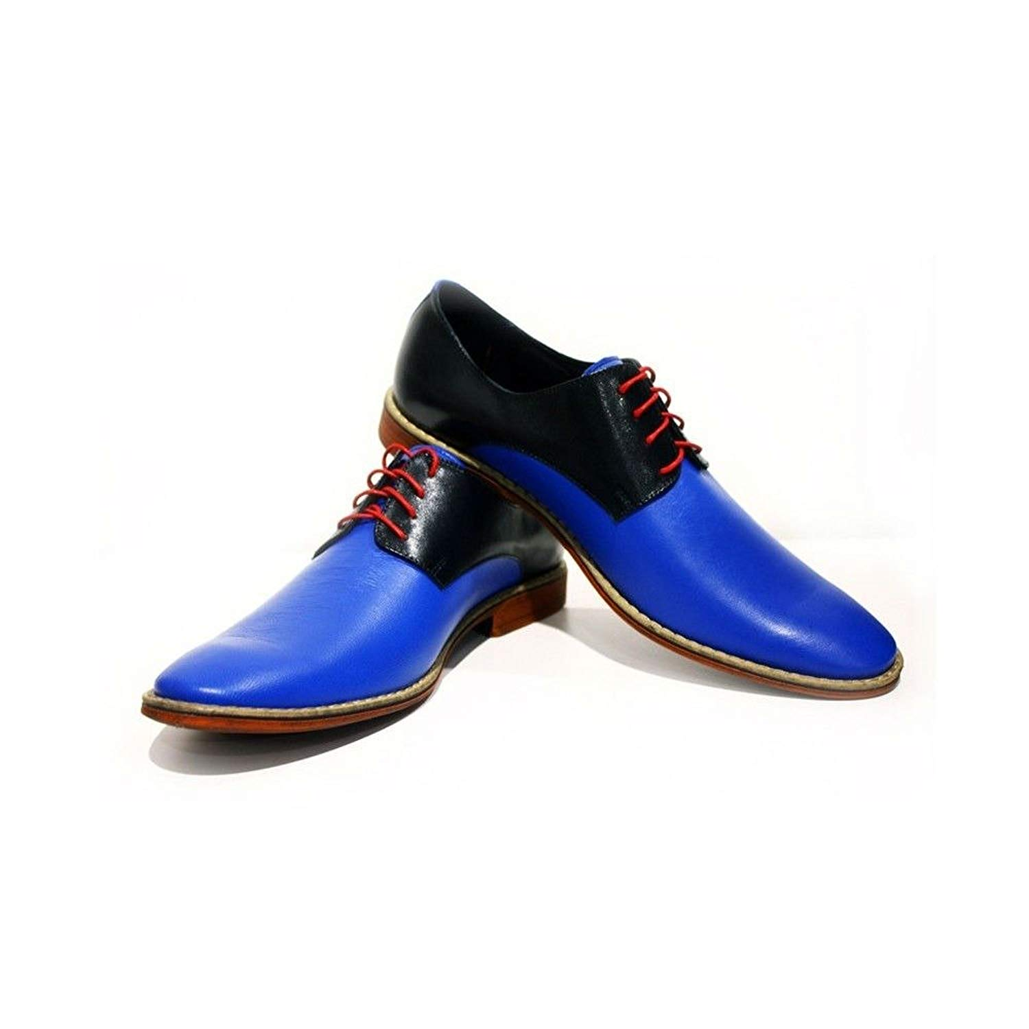 Modello Sassuolo - Handmade Italian Mens Blue Oxfords Dress Shoes - Cowhide Smooth Leather - Lace-up
