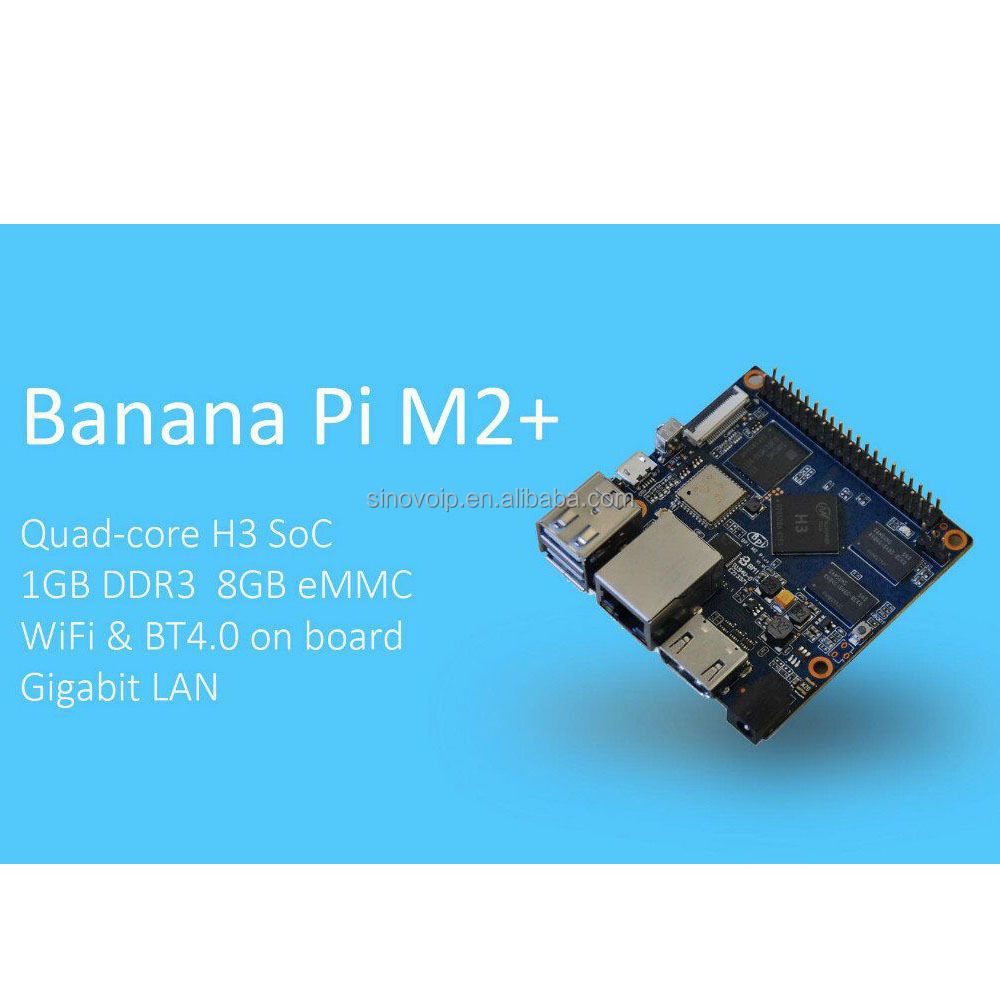 quad core Bananapi M2 plus with H3 supports OpenGL ES 2.0 BPI M2 plus with 8GB EMMC flash
