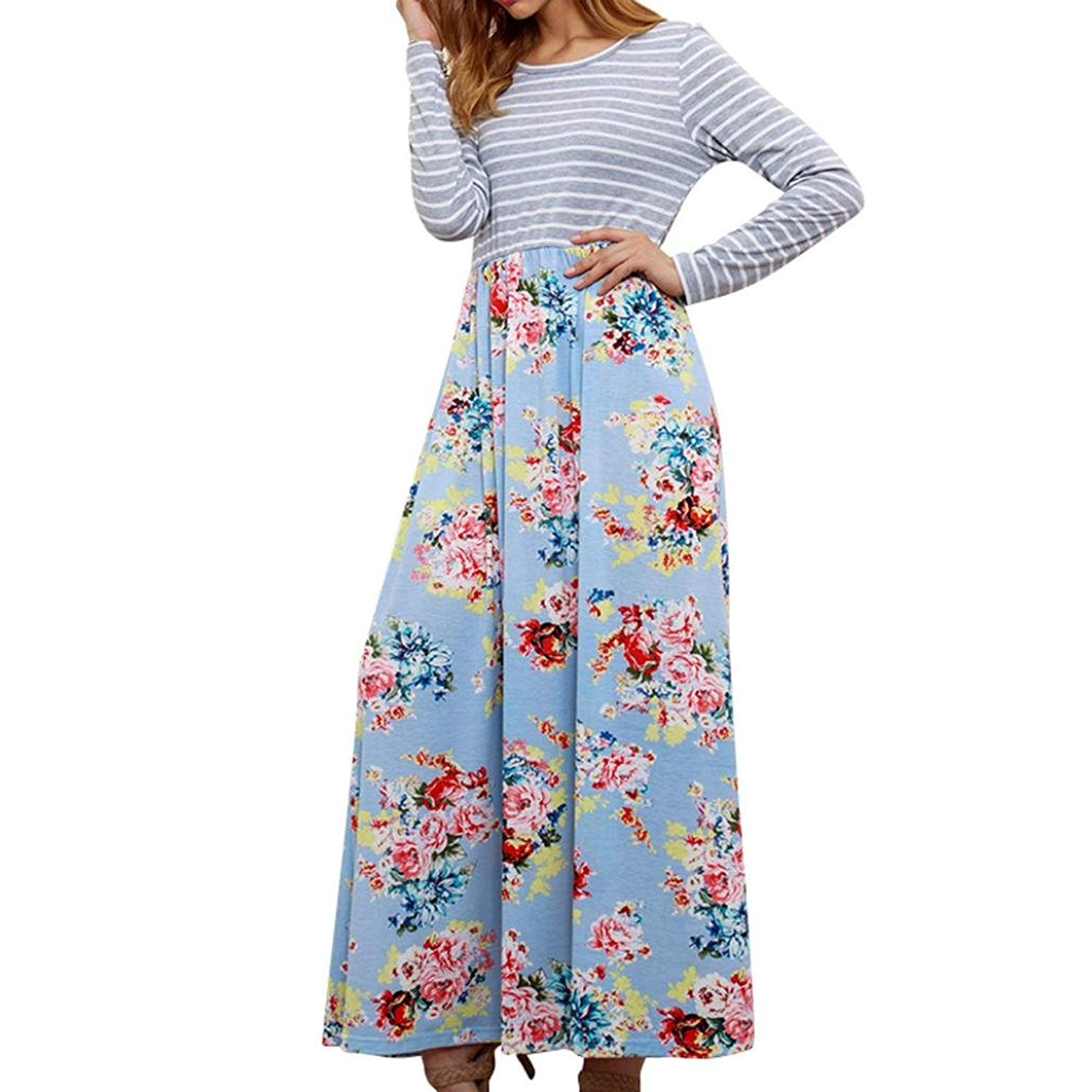 7bcc037b1 Buy Howstar Women  39 s Long Sleeve Maxi Dress with Pockets Casual Loose  T-Shirt Dresses Floral Print Pleated Dress in Cheap Price on m.alibaba.com