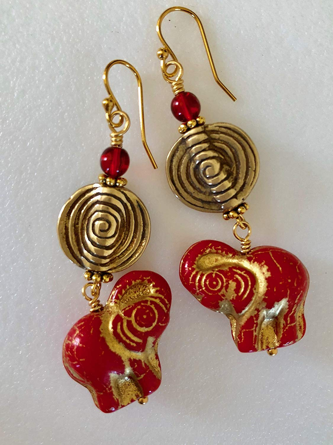 Czech Red Elephant Earrings, Premium Czech Glass, Scarlet Red Gold Glass Elephants, Solid Brass Spiral Coin, Ethnic, Boho, Animal Lover.